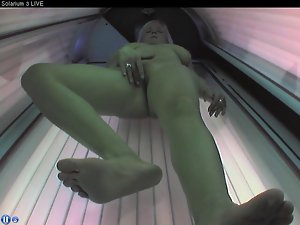 Enormous melons masturbating in and out of the solarium