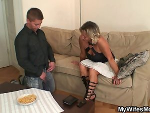 Filthy mother-in-law strokes and rides his shaft