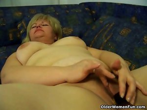 Plumper attractive mature mature whore rubs her swollen cunt