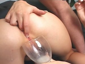 2 vixens drink each others butthole creampie from a glass