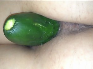 Cucumber in my wife's cunt (secretly taken)