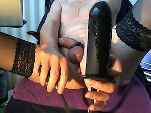Sissy Whore Asshole Play: Inflatable Fake penis