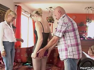 Perverted parents seduces their son's young woman