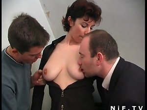 French filthy bitch gets double penetrated