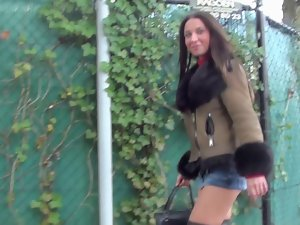 shortest microskirt and furfetish overknee boots & upskirt