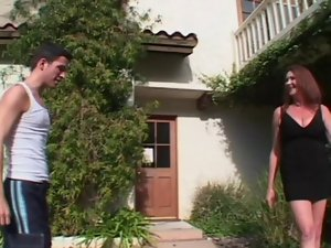 Shaggy Buxom Oldie Anastasia Bangs The Lawn Young man