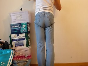 crossdresser with diaper under jeans