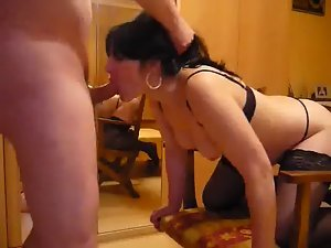 Amateur in sensual lingerie getting rim job and ideal facial