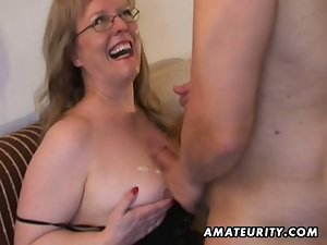 Top heavy amateur Mommy licks and screws with cum on hooters