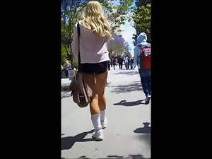 Candid University Blond Bum in Spandex