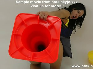 Hotkinkyjo huge traffic cone in butt - extreme bum