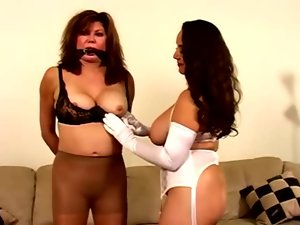 Nylon Stockings VS Pantyhose - Fetish lesbian domination