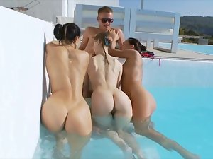 Private pool party with filthy 19 years old cum hungry girls