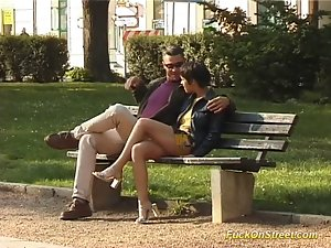 Fuck on street slutty girl gets penis oral and cunt caressed