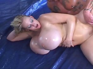 Kayla: Huge Artificial Oily Knockers