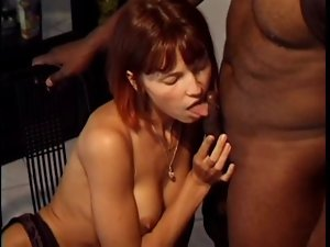 Sensual thin redhead double teamed
