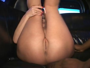White skanky whore bbc in limo
