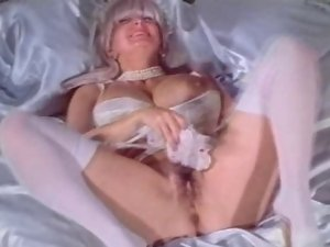 Big melons Granny Candy Samples Masturbates in Wedding Dress
