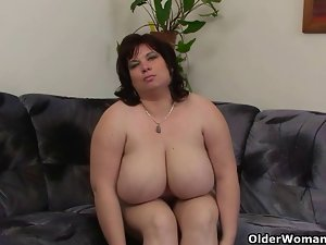 Chesty and aged Big beautiful woman masturbates with vibrating sex toy