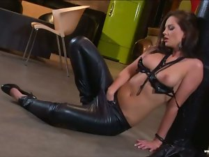 Sandra Shine in leather