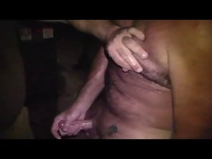 Two Daddys an a Young man wanking in a Backyard from a Bar
