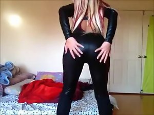 Filthy Blond in a catsuit - Unbelievable Bum