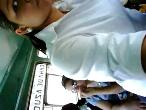 lassie touching pecker in bus