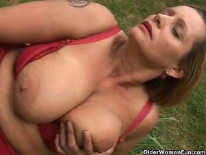 Chunky experienced married woman with big melons masturbates outdoors