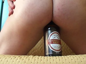 crossdresser beer bottle bum insertion