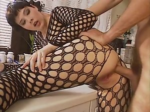 Bodystocking, backdoor in kitchen