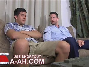 Luscious Airman Grinds His Penis into Enlistees Face