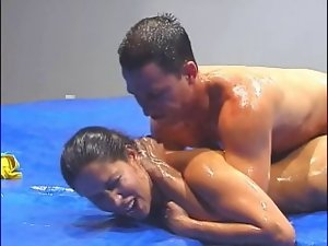 Attractive mixed wrestling