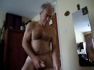 fellow delighted wanking jerking nude to cum