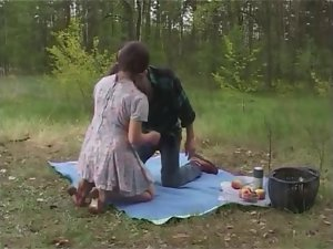 Large melons ponytails slutty girl outdoor picnic sex
