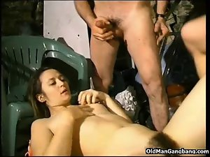 Crazy threesome action in bums hideout