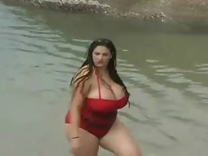 A Lewd Cute bbw Slutty girl With Huge Knockers In The Sea