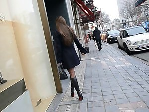 exhibitionist naked under trench in louboutin boots + UPSKIRT