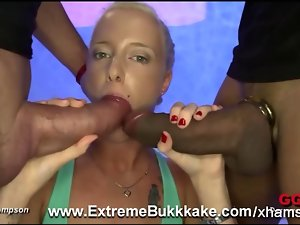 Tempting blonde Lucy enjoyed our peckers and cum