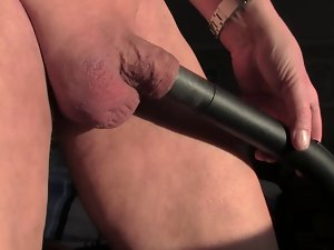 Vacuuming of cock.