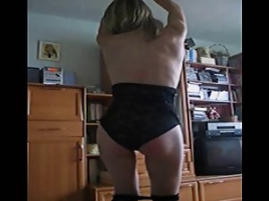 Saggy titted slutty wife dancing 1