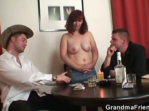 Granny loses in strip poker