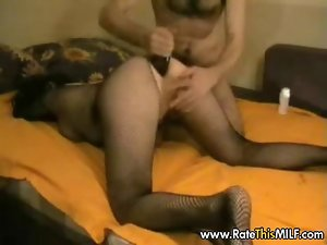 Mommy in fishnet bodystockings getting her butt drilled brutal