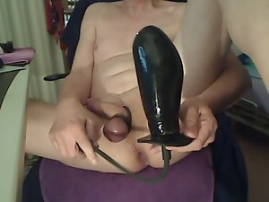 Huge inflatable toy in narrow shaven stunning anal