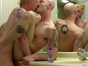 ginger PUNK tattooed FUCK bald punk BATHROOM mirror hotel