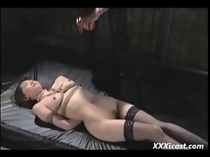 Asian Tied In Stockings Whipped And Filthy Waxed