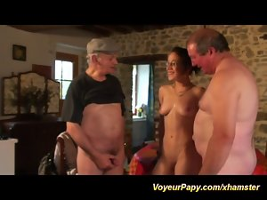 triple fun with voyeur papy
