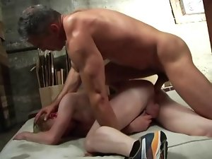dad bareback on mat in garage
