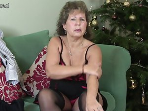 Aged English cheating wife being raunchy on her couch
