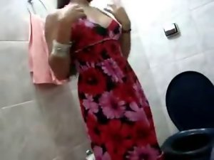 Sensual indian showing off in bathroom