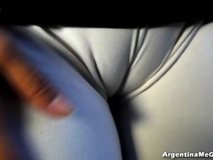 Big Cameltoe, Big Boobs, Doing Luscious Yoga in Tense Lycra Pant